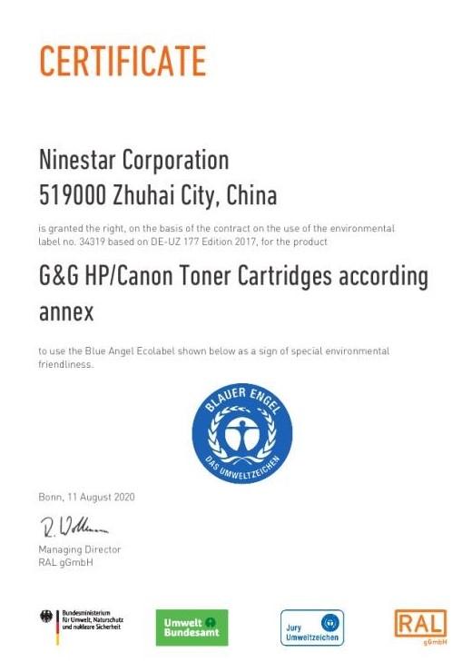 """Das """"Blauer Engel"""" Zertifikat für G&G Toner von Ninestar"""